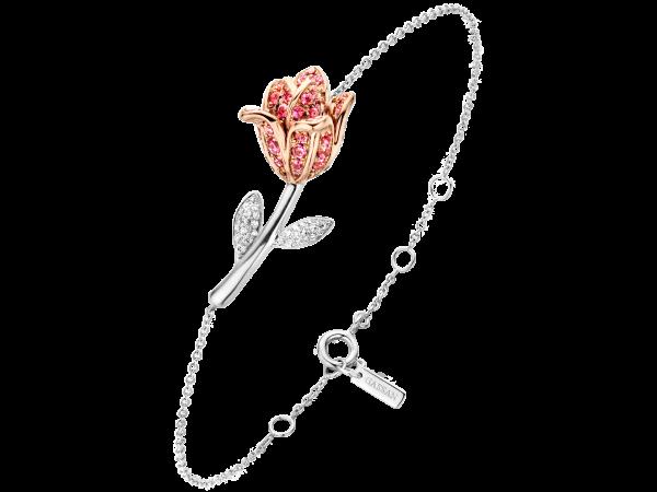 Armband tulp wit en roségoud