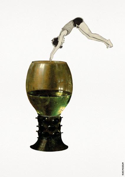 Prent Duikend Meisje in Roemer Glas