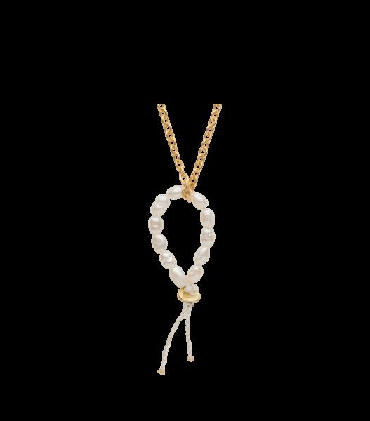 Hanger memento 'loop ' goud verguld pareltjes