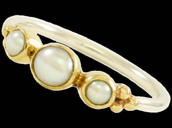 Ring 3 parels Joodse Bruid | Small
