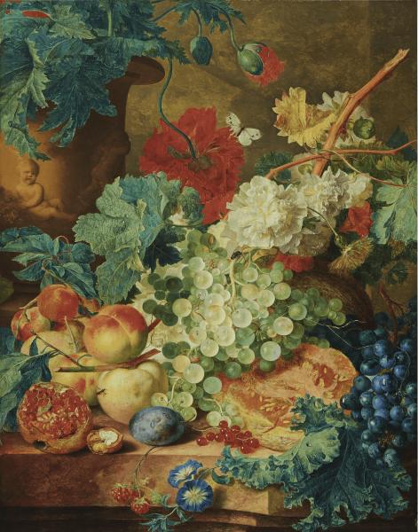 Poster I Stilleven met Bloemen en Vruchten