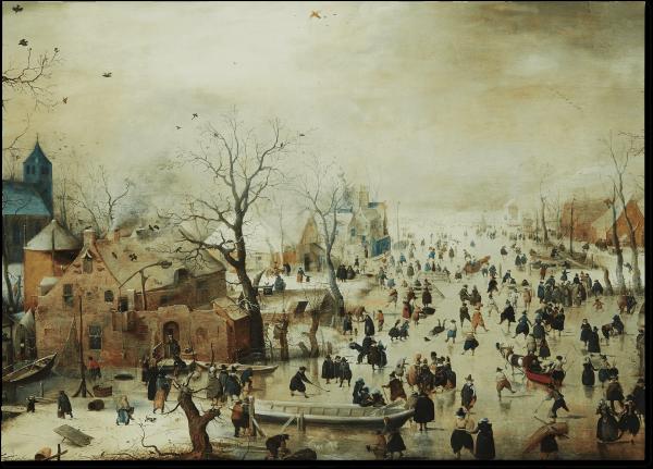 Poster 'Winterlandschap met Schaatsers'