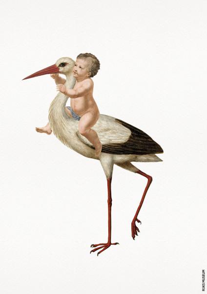 Prent Ooievaar en Baby