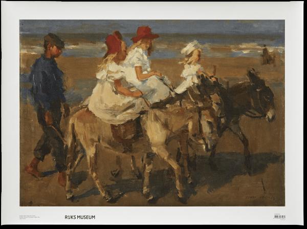 Canvas I Ezeltje rijden langs het strand