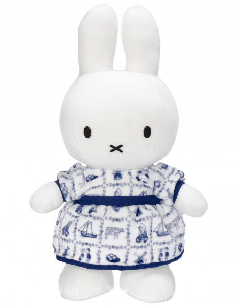 Plush toy l Miffy in a Delft blue dress.