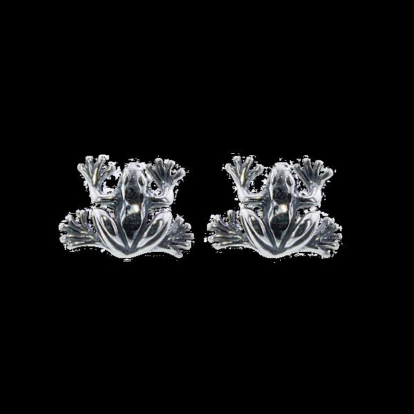 Oorbel kikker zilver